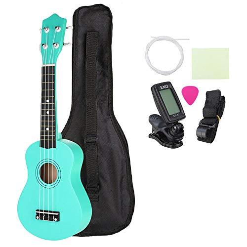 Guitarra acústica Los estudiantes niños 21 Instrumento Musical Ukelele Soprano Uke pulgadas económica con Funda Cuerdas sintonizador de Hawai poca guitarra - Verde para adultos de los niños para princ