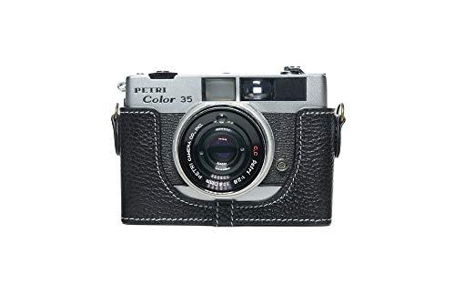 Funda para cámara Petri Color 35 35E, Zakao hecha a mano de cuero auténtico de la mitad de la cámara Funda de la bolsa para la cámara Petri Color 35 35E con correa de mano (negro)