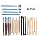 SYCASE Polymer Clay Tools Set of 23 Set de herramientas de modelado de arcilla Set de herramientas para esculpir arcilla Ball Stylus Dotting Tools Kit de herramientas de arcilla de cerámica Bolígrafos