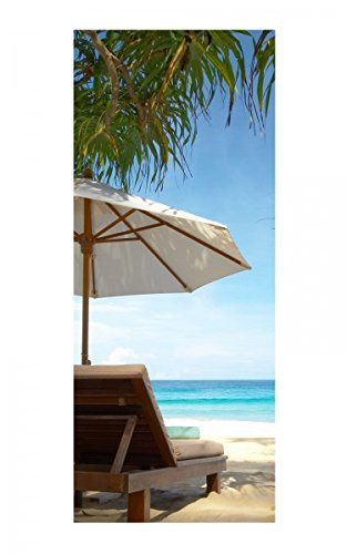 Türaufkleber Meer Strand Palme Stühle Liege Ruhe Tür Bild Türposter Türfolie Türtapete Poster Aufkleber 15A557, Türgrösse:90cmx200cm