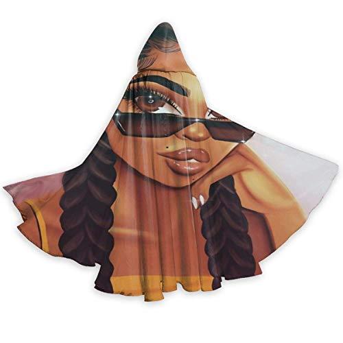 Amanda Walter Capa con Capucha de Longitud Completa para Hombres y Mujeres afroamericanos, Capa Negra para Fiesta de Disfraces de Halloween de Navidad y Halloween