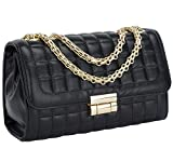 Women's Classic PU Leather Crossbody Purse Shoulder Bags Golden Chain Satchel Handbags(Black)