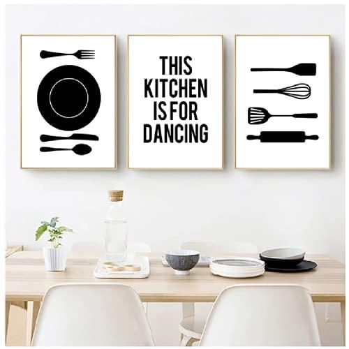 Kitchen Is for Dancing Cita Arte Impresiones y Cartel Cocinar Vajilla Lienzo Pintura Decoración de Pared Fotos Cocina Sala Decoración No Marco