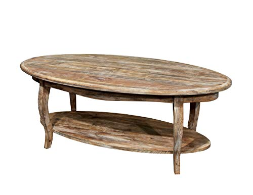 Alaterre Rustic Oval Coffee Table, Driftwood Reclaimed Wood