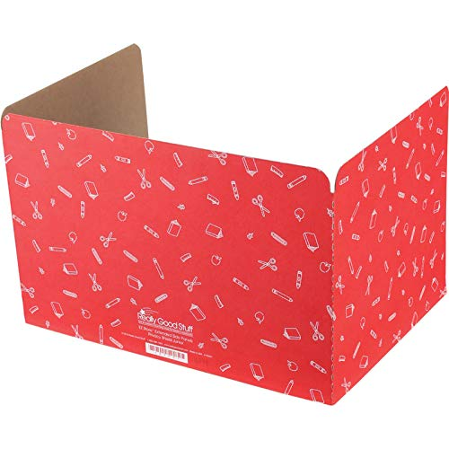 Really Good Stuff Standard Privacy Shields for Student Desks – Set of 12 - Matte - Study Carrel Reduces Distractions - Keep Eyes from Wandering During Tests, Red with School Supplies Pattern