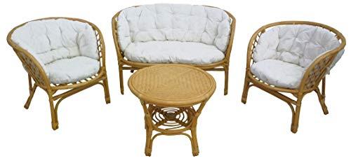Savino Fiorenzo - Juego completo de salón de mimbre de bambú y ratán Luna Bahama natural - Sofá sillones y mesa