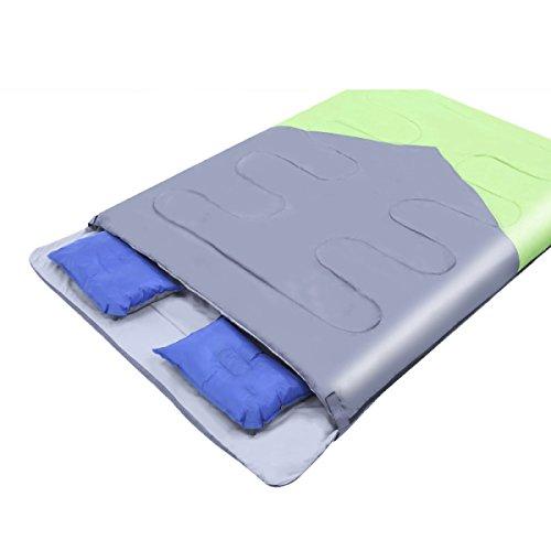 Xin.S Enveloppe Sac De Couchage à L'extérieur Pause Déjeuner Intérieur Randonnée Adulte Camping Sac De Couchage Double Couple,GreenWithGray-(190+28)*150cm
