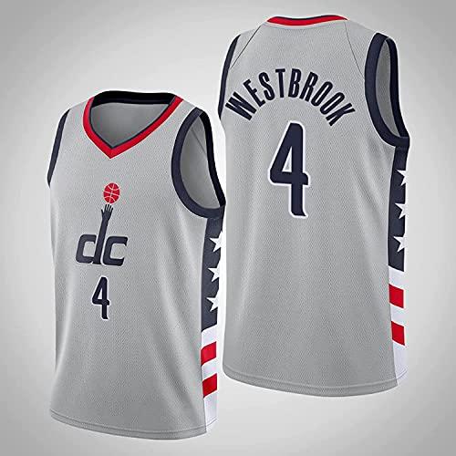 Movement Camisetas de Baloncesto para Hombre, Washington Wizards # 4 Russell Westbrook City Edition Malla Bordada Chaleco clásico Transpirable Uniformes Camiseta sin Mangas cómoda (Size:/L,Color:G1)