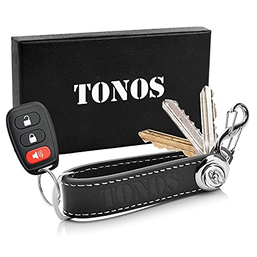TONOS Leather Keychain - Compact Key Holder and Keychain Organizer for Bulk Keys & Car Fob, Elegant Key Ring