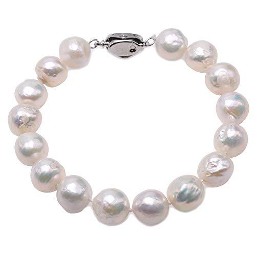 JYX - Bracciale da donna con perle d'acqua dolce coltivate bianche irregolari, 10-11 mm, lunghezza 20,3 cm