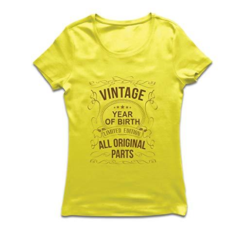 lepni.me Camiseta Mujer Año Personalizado Todas Las Piezas Originales Regalo de cumpleaños Vintage (X-Large Amarillo Multicolor)