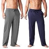 CityComfort Pantalones Largos de Pijama, Pack de 2 Pantalones Hombre De Algodón, Ropa Hombre M - 3XL (Azul Marino/Carbón, L)