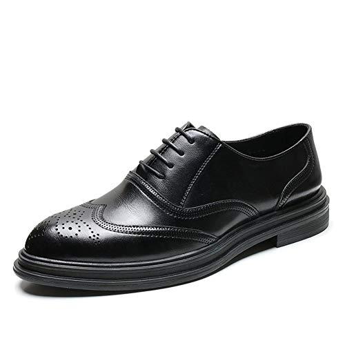 Zapatos cómodos Perforada por hombres de la manera de vestir de encaje hasta los zapatos Brogue genuino del bloque del cuero del talón del dedo del pie en punta suela de goma plataforma del estilo Bur