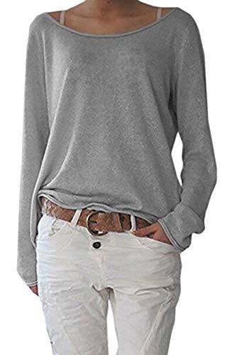 ZIOOER Damen Pulli Langarm T-Shirt Rundhals Ausschnitt Lose Bluse Langarmshirts Hemd Pullover Sweatshirt Oberteil Tops Shirts A Grau L