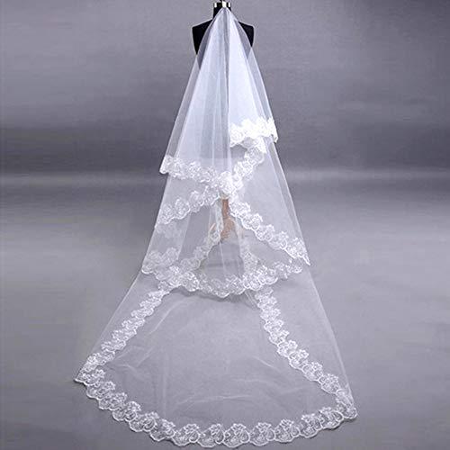 Limeow Hochzeits Braut Schleier Zum Brautschleier-Spitze-Stickerei Long Brautschleier Abendkleid Braut Brautschleier Hochzeit Zubehör für Braut und Brautjungfern Weiß Elegant
