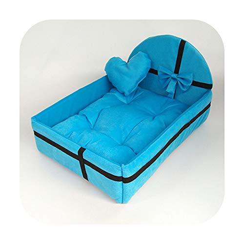Petsupplies Cute Plush Cushion Pet Dog House Nest With Mat Warm Small Medium Dogs Pet Removable Mattress Cat Bed Dog Puppy Kennel-Blue-L
