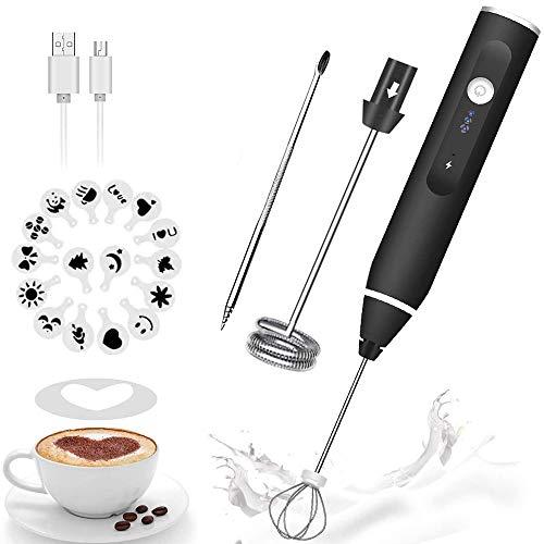 FURNIZONE 4 en 1 Espumador de Leche Eléctrico, USB Recargable Batidor Eléctrico de Mano Ajustable 3 velocidades para Lattes, Capuchinos y Chocolate Caliente(16 Plantillas de Café)