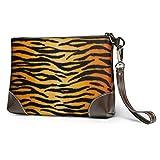 GLGFashion Carteras de cuero para mujer Animal Print Tiger Black Gold Portable Travel Makeup Cosmetic Bags Organizer Multifunction Case Toiletry Bags for Women