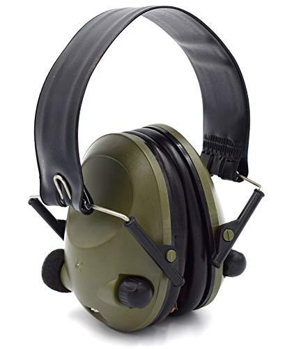 Elektronisches Aktives Headset EAR PROTECT Oliv mit Aux-Eingang Metallbügel verstärkt Umgebungsgeräusche für Jagd