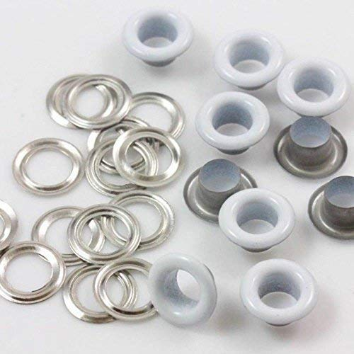 5mm witte grommets ogen met zilveren ringen voor stof gordijnen lederen dekzeil Vinyl kunst & ambacht door trimmen winkel