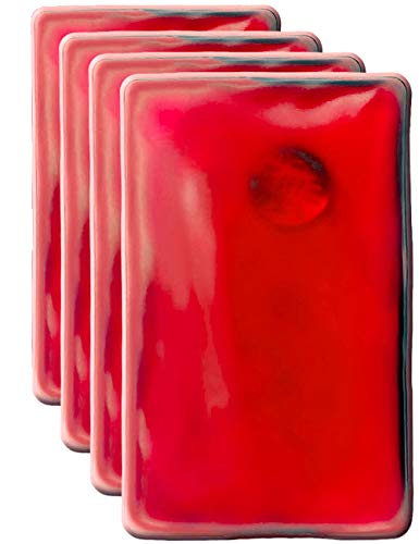 HomeTools.eu® - Set di 4 cuscini termici, scaldamani in gel, scaldamani, auto-riscaldanti, a lunga durata, riutilizzabili, 10 x 6,5 cm, colore rosso