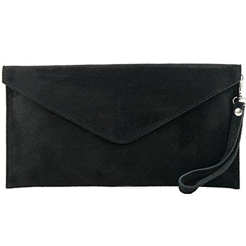 modamoda de - ital embrague/noche bolsa de gamuza T106, Color:negro