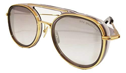 Dita Spacecraft 19017 Gafas de sol para hombres y mujeres en marco cepillado redondo dorado y lente dorado