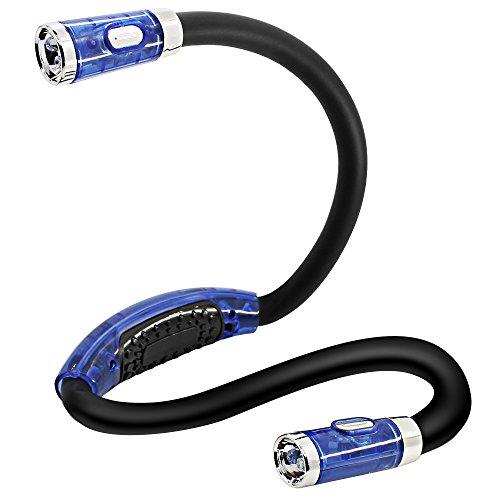 DLAND LED Light Book, bras flexible, autour du cou, le meilleur pour la lecture de lit ou Lire en voiture, 4 Super Bright LED Ampoules, 4 niveaux de contrôle d'éclairage (bleu)