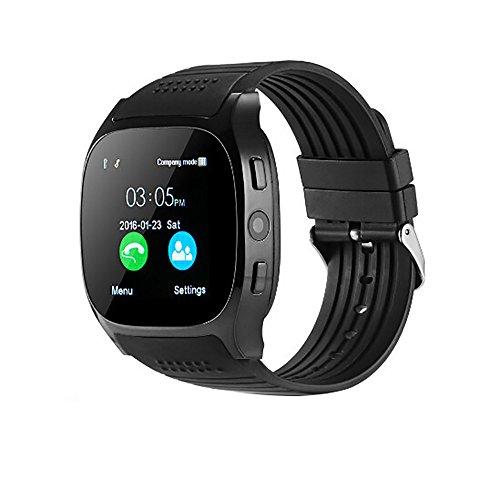 VECDY Smartwatch, Nuevo Reloj T8 BT3.0 con Soporte para SIM y Cámara TFcard para Android para iPhone Regalos(Negro)