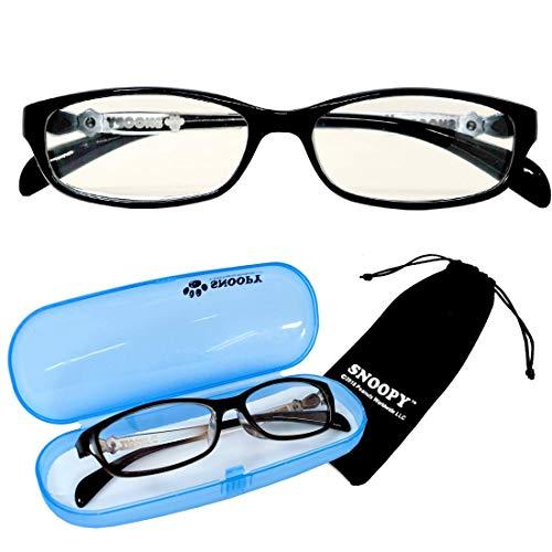 PCメガネ キッズ スヌーピー ブラック SNOOPY [巾着+ケース付] ブルーライトカット 子供 小さめ 大き目 女性用メガネ pcメガネ パソコン用眼鏡 サングラス ファッション [並行輸入品]