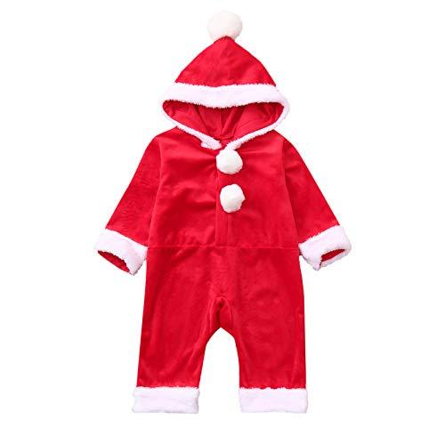 Chłopiec dziewczynka Boże Narodzenie śpioszki Święty Mikołaj kombinezon flanelowy body z kapturem piżama świąteczna sukienka z czapką bożonarodzeniową, Czerwony, 18-24 Miesiące