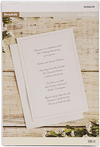 Simplicity Ivory Wedding Invitation Cards with Envelopes, 100pc, 5.5
