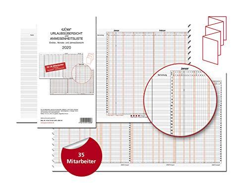 Güss Urlaubs-/Anwesenheitsliste 30x234cm für 35 Mitarbeiter - Kalendarium