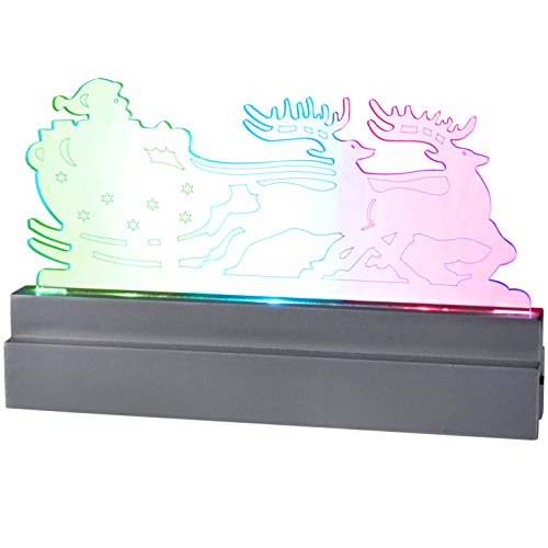 WeRChristmas Pre-Lit Acrylic Santa in Sleigh and Reindeer Table/Window Decoration with Colour Changing LED Lights - 22 cm, Multi-Colour