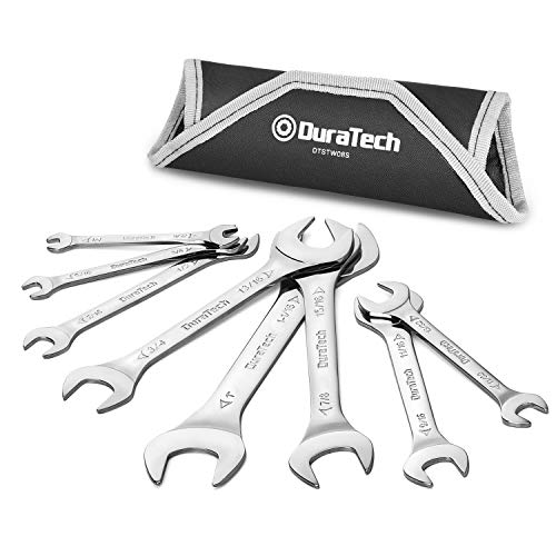 """DURATECH Super-Thin Open End Wrench Set, SAE, 8-Piece, 1/4"""" to 1-1/16"""", Slim Spanner Wrench Set with Rolling Pouch"""