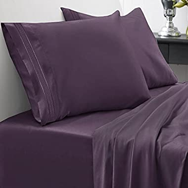 Sweet Home Collection 1800 Thread Count Egyptian Quality Brushed Microfiber 4 Piece Deep Pocket Bed Sheet Set, King, Purple