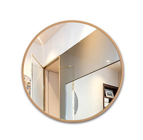 Espejo redondo con borde de madera espejo de baño europeo Espejo espejo de tocador espejo de baño espejo (Color : Color madera, Tamaño : 70 * 70cm)