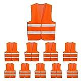 10 Pack Mount Marter safety vest reflective running vest for men and women, 380° super bright, High visibility & Long distance, Orange safety reflective vest for traffic, construction and outdoor work