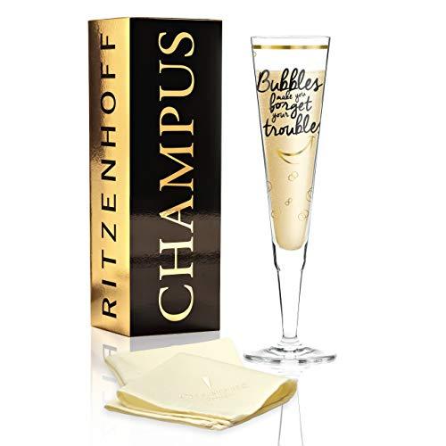 RITZENHOFF Champus Champagnerglas von Véronique Jacquart, aus Kristallglas, 200 ml, mit edlen Goldanteilen, inkl. Stoffserviette