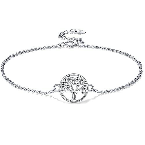 Lydreewam Arbre de Vie Bracelet de Cheville Argent Sterling 925 pour Femmes avec Zircones Été Pieds Nus Plage, réglable 22+4cm