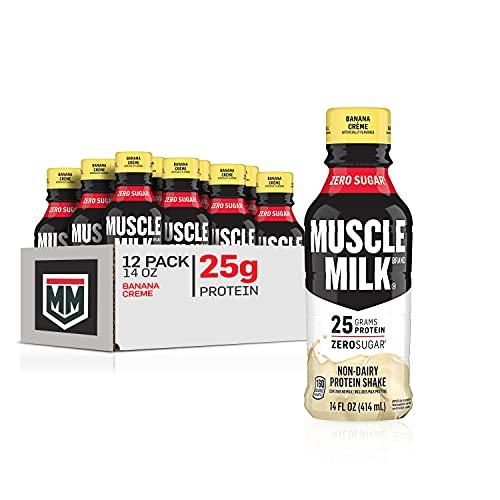 Muscle Milk Genuine Protein Shake, Banana Crème, 25g Protein, 14 Fl Oz, 12 Pack