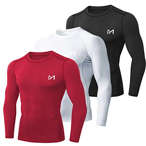MEETYOO Tee Shirt Compression Homme Manche Longue, Baselayer Maillot Running Vetement Fitness pour Sports Jogging Musculation (Noir + Blanc + Rouge, M)