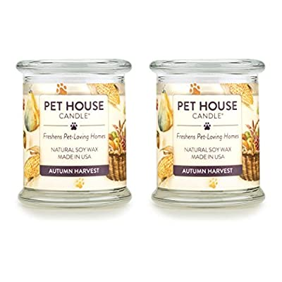 One Fur All 100% Natural Soy Wax Candle, 20 Fragrances - Pet Odor Eliminator, Up to 60 Hours Burn Time, Non-Toxic, Reusable Glass Jar Scented Candles –Pet House Candle, Red Ruby Grapefruit - Pack of 2