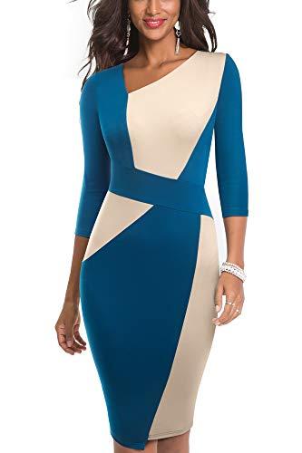 HOMEYEE Vestido sin Mangas de Negocios con Contraste en Color elástico Vintage de Mujer B517 (EU 36 = Size S, Albaricoque + Teal-L)