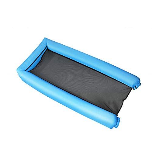 Mnjin Freizeit schwimmende Wasserhängematte, tragbare große aufblasbare schwimmende Reihe, mit Netz, Wassersofa, geeignet für den Strand Schwimmbad Wasserpark Glatte Oberfläche/blau / 185x70x20cm