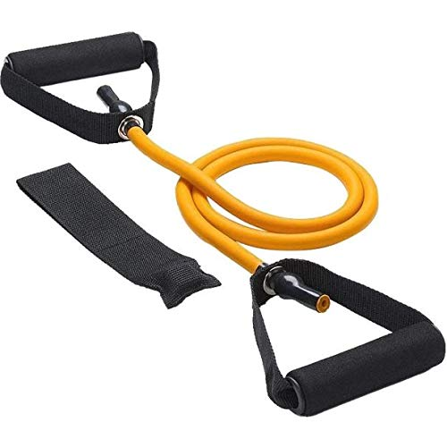 KD Resistance Band Toning Tube with Door Anchor (15-50 lbs) Light, Medium, Heavy & E Heavy for Exercise Home Workout, Strength Training and Weight Loss(Heavy, Yellow)