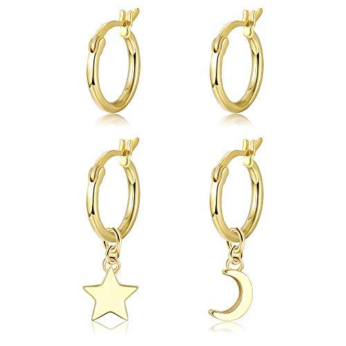 Adramata 2 paia di orecchini a cerchio in argento sterling 925 per donna, ragazze, piccoli orecchini a cerchio piccoli e carini, stella luna, goccia, ciondola, orecchini, orecchini