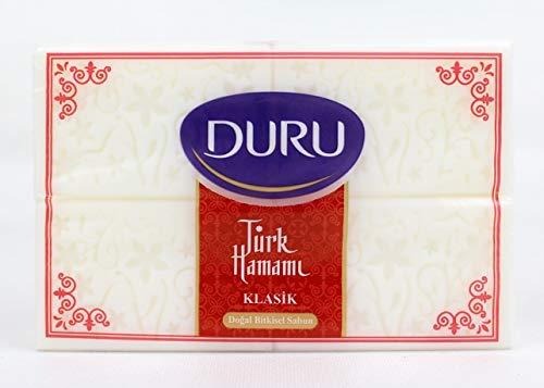 Duru Seife, Hamamseife Klasik, Türk Hamam Seife, weisse feste Seife 4x 200 g wohlriechend und schäumend