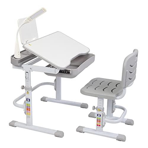 LTCTL Kinder-Lerntisch und Stuhl-Set Hubtischplatte Kann Kinder-Lerntisch und Stuhl 70CM (mit Leseständer USB-Schnittstellen-Schreibtischlampe) kippen