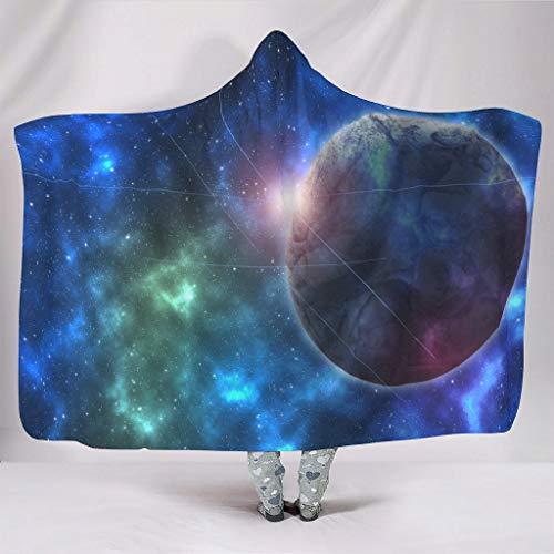 Wandlovers knuffelig met capuchon plafond fantasie blauw planeet zonlicht sterrennevel universum ruimte kunstdruk sherpa fleece magische omhang van de waaiers studeren